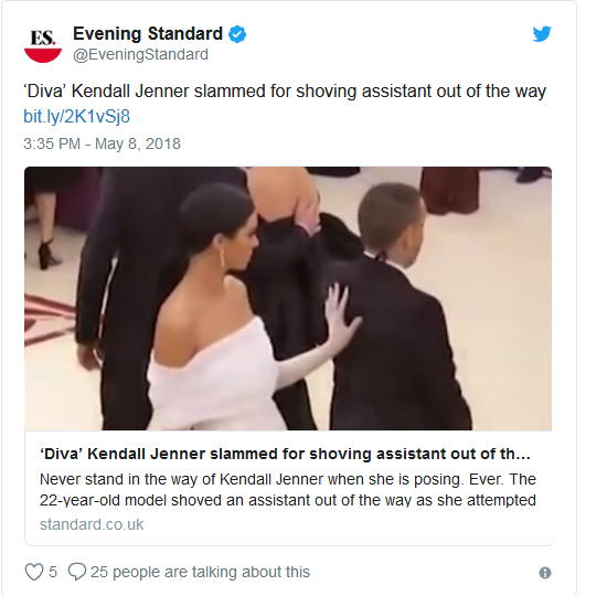 Kendall Jenner Shoving Assistant in Met Gala 2018 - Today Entertainment News