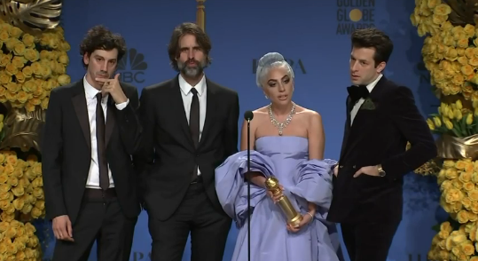From left Anthony Rossomando, Andrew Wyatt, Lady Gaga and Mark Ronson